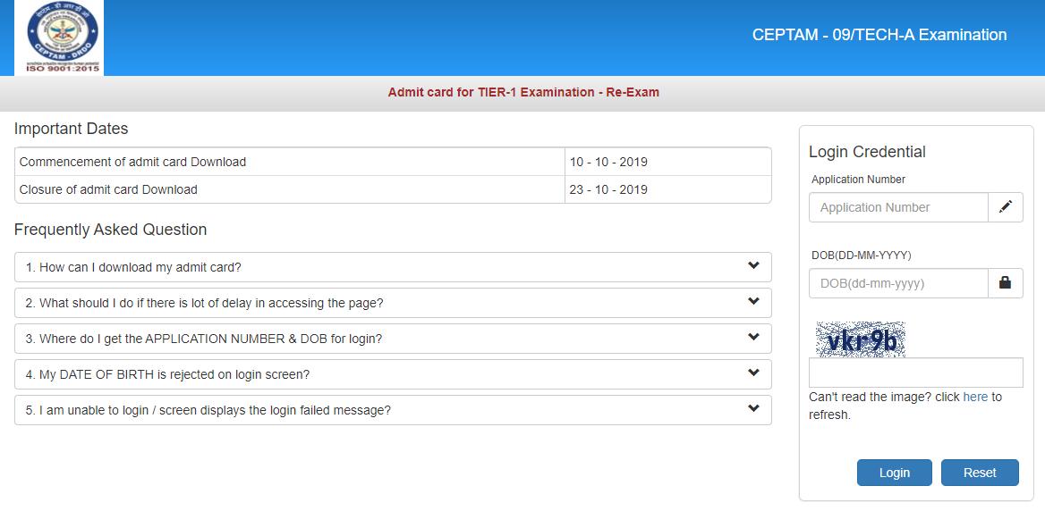 DRDO CETAM Tier 1 Re-exam Admit Card 2019 embibe