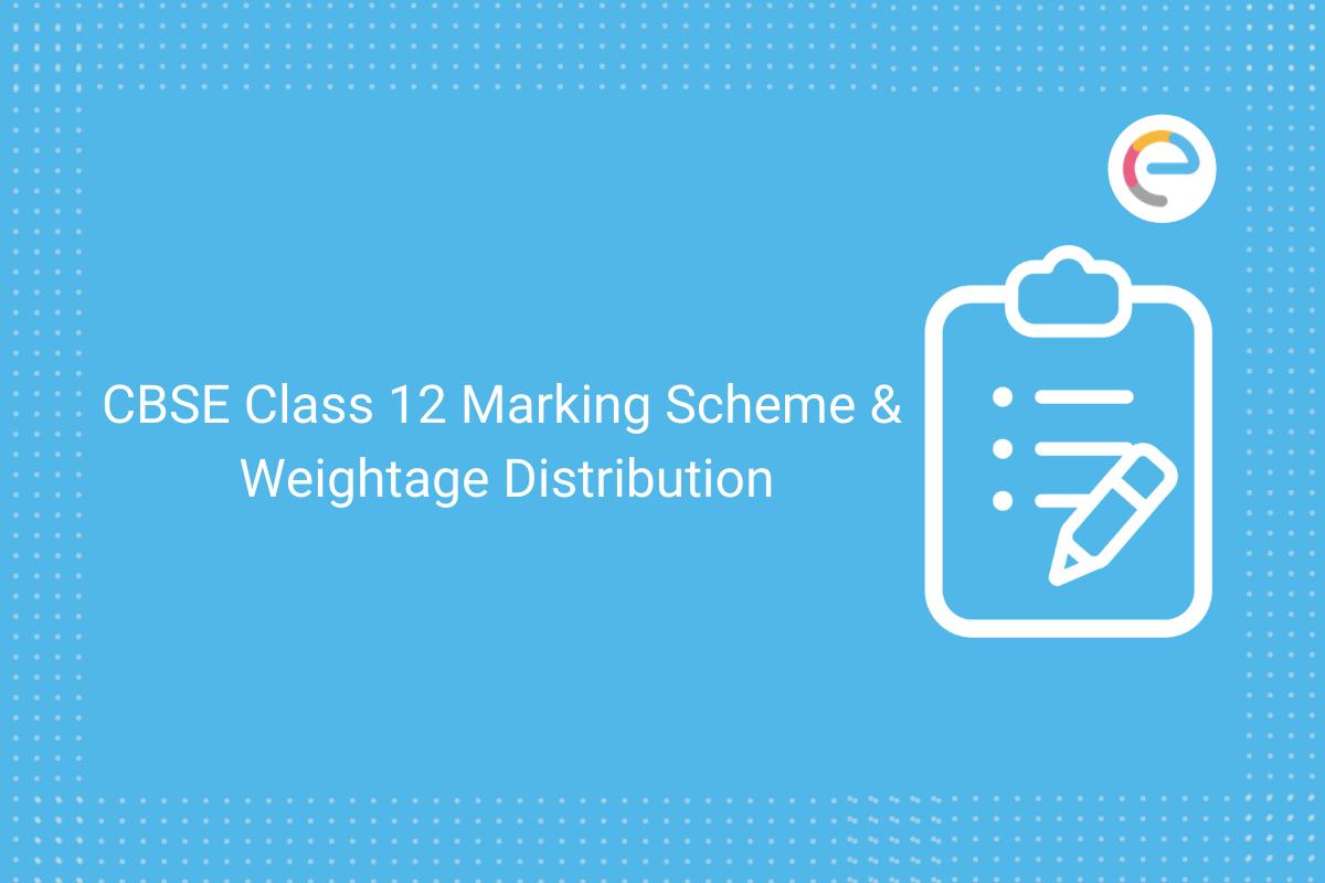 cbse class 12 marking scheme & weightage distribution