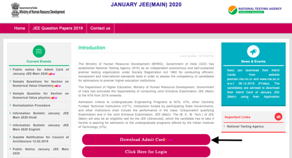 JEE Main Admit Card home page