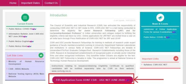 csir net 2020 registration link