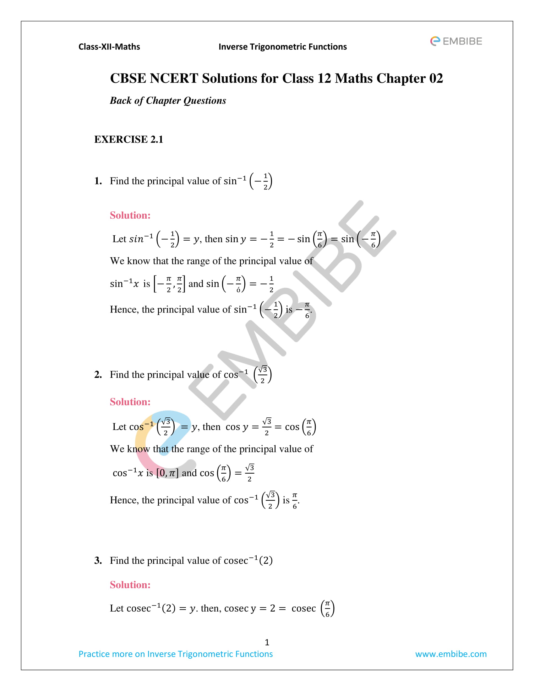CBSE NCERT Solutions for Class 12 Maths Chapter 2