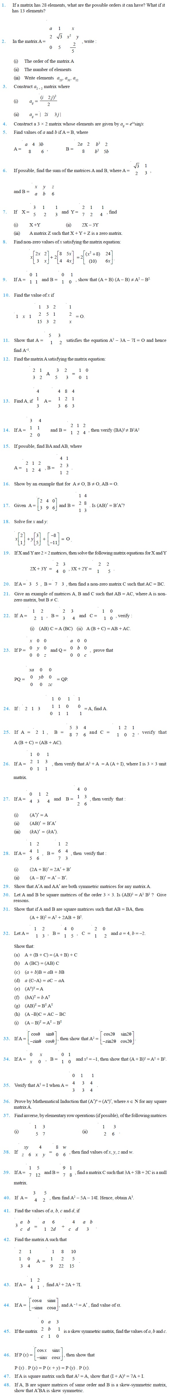 matrices important questions