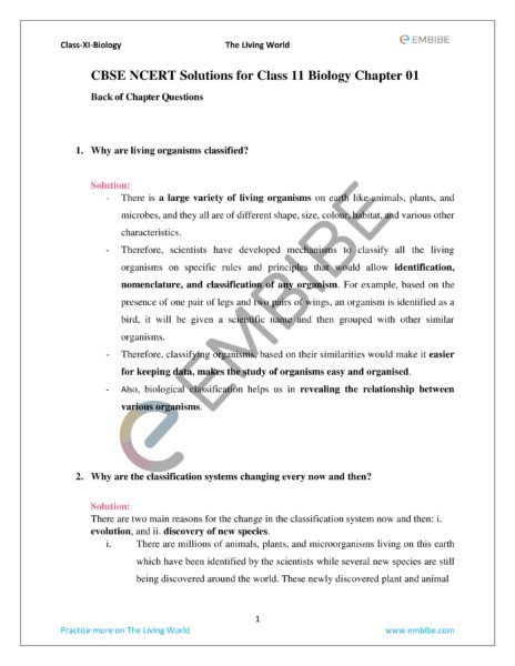ncert solutions for class 11 biology chapter 1