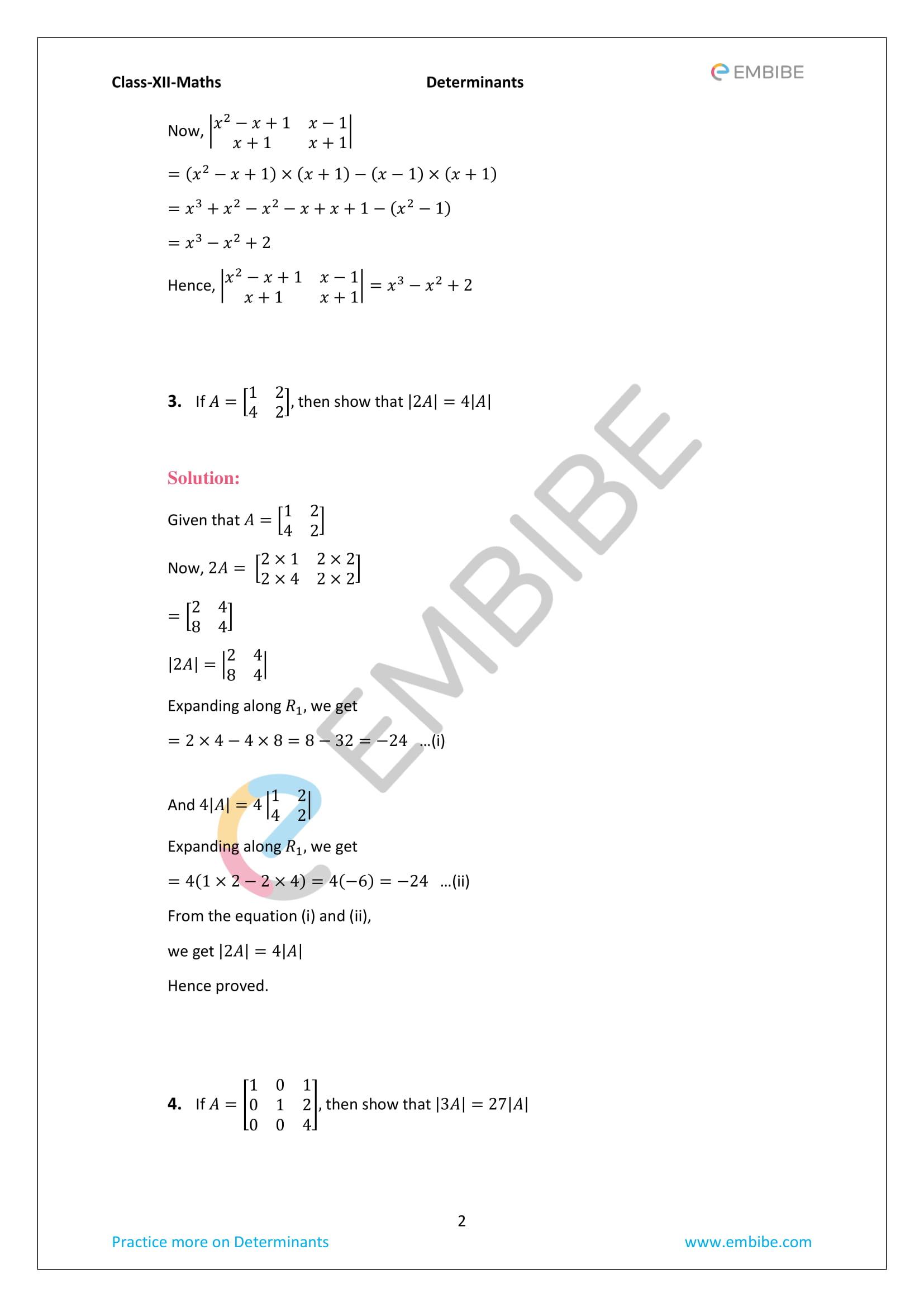 cbse ncert solutions for class 12 maths chapter 4