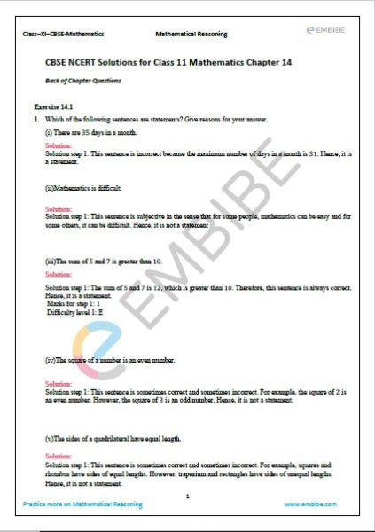 NCERT Solutions For Class 11 Maths Chapter 14 Exercise 1