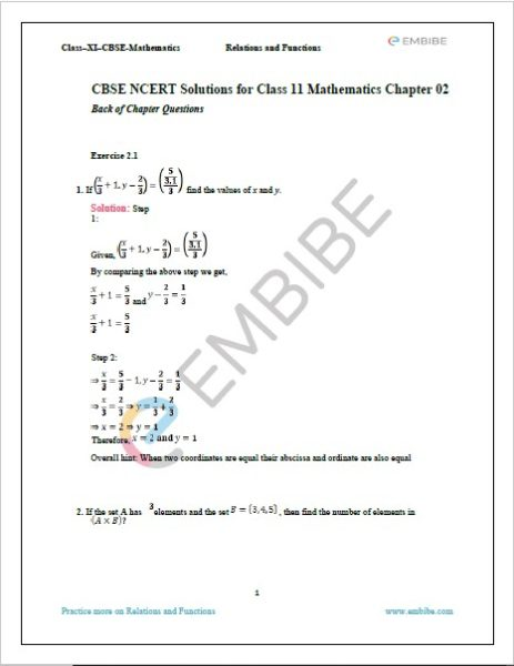 NCERT Solutions For Class 11 Maths Chapter 2 Exercise 2.1