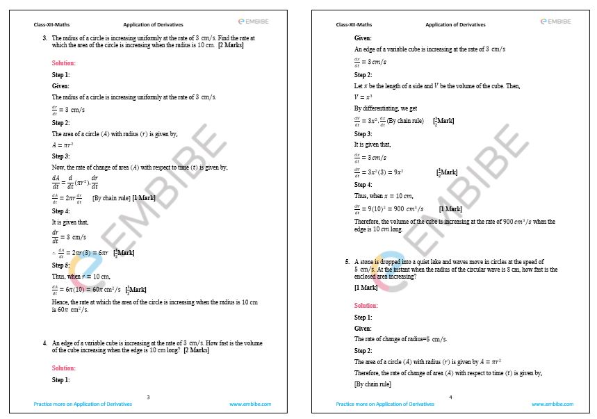 Download NCERT Solutions For Class 12 Maths Chapter 6 Applications of Derivatives PDF