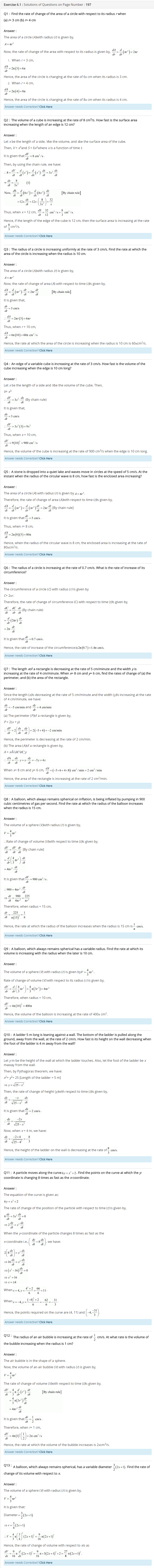 Class 12 Maths Chapter 6 Application of Derivatives important questions