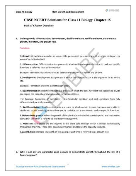 NCERT Solutions for Class 11 Biology Chapter 15