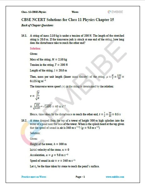 NCERT Solutions For Class 11 Physics Chapter 15 question 1