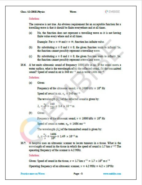 NCERT Solutions For Class 11 Physics Chapter 15 question 6,7