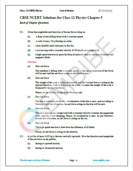 NCERT Solutions For Class 11 Physics Chapter 5 Question 1
