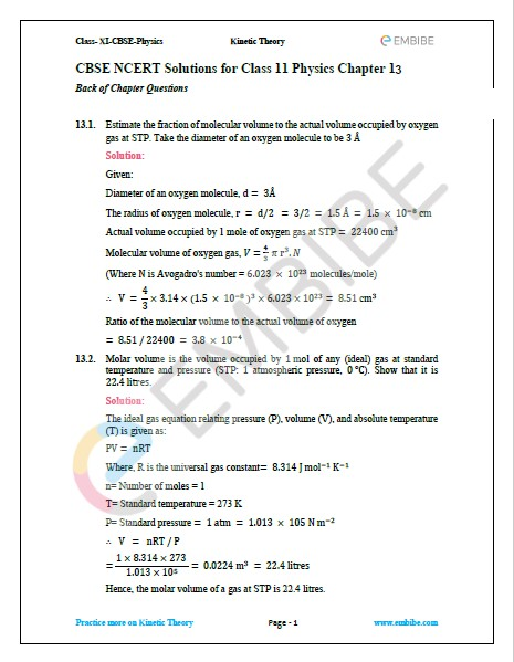 NCERT Solutions For Class 11 Physics Chapter 13 Question 1