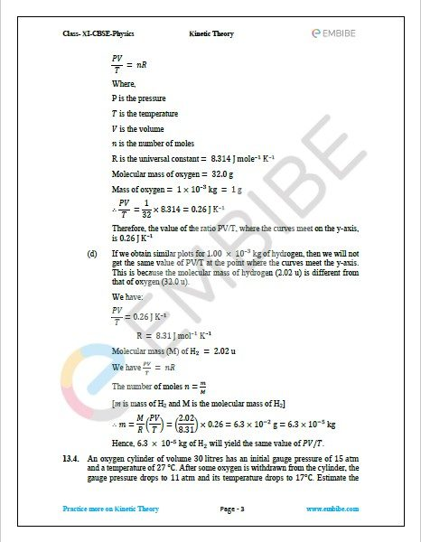 NCERT Solutions For Class 11 Physics Chapter 13 Question 4