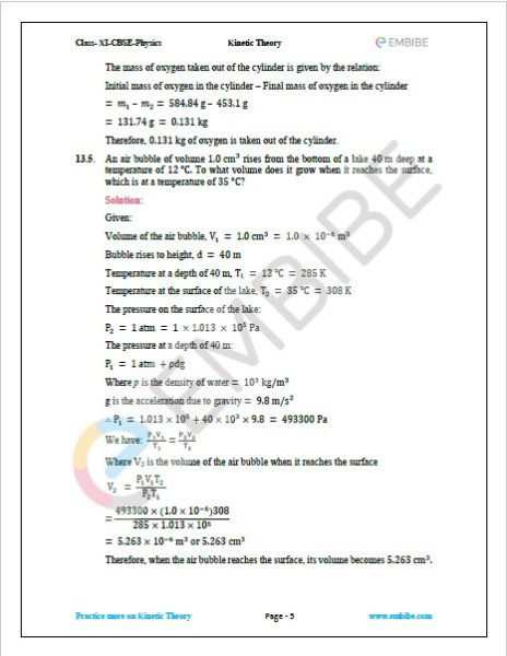 NCERT Solutions For Class 11 Physics Chapter 13 Question 5