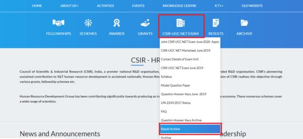 csir net cutoff home page