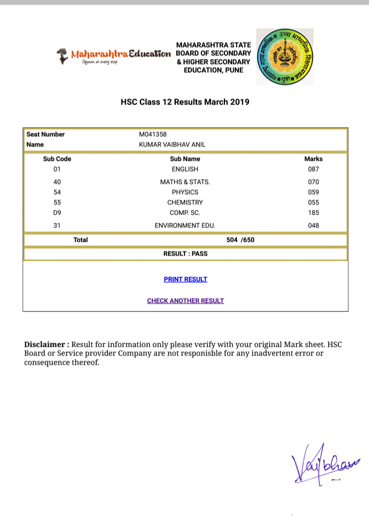 12th HSC Result 2020 Maharashtra