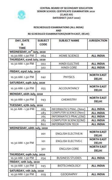 cbse class 12 revised time table