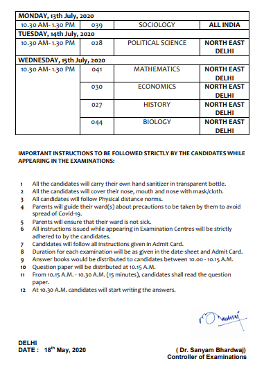 cbse class 12 revised date sheet