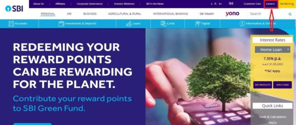sbi po admit card home page