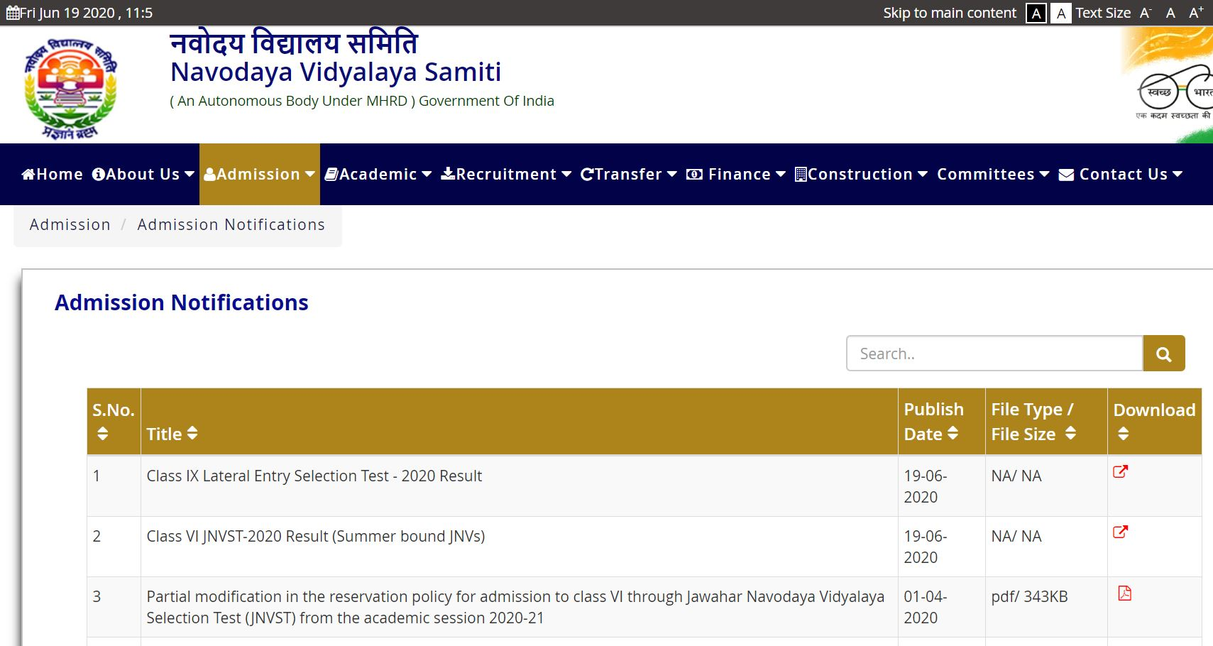 JNVST Class 6 and 9 Admission Result