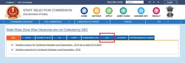 ssc jht vacancy details