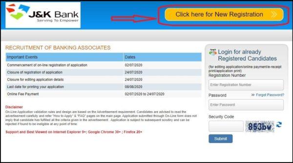 jk bank registration