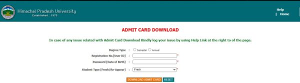 HPU Admit Card Download
