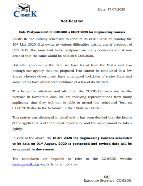 COMEDK UGET Exam Postponed
