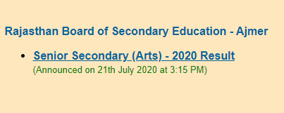 rbse 12th arts result link