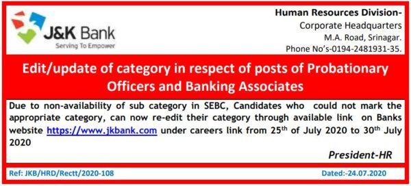 j&k bank application form correction
