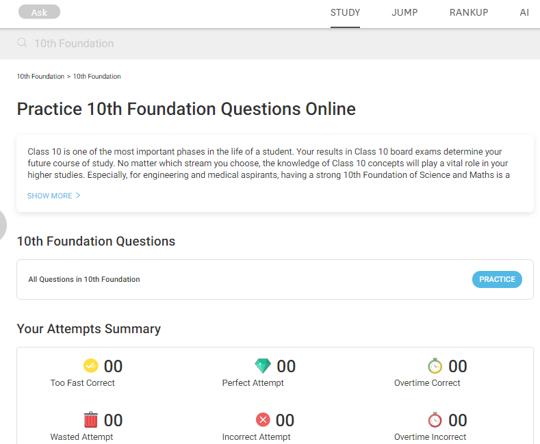 Practice 10th foundation questions online