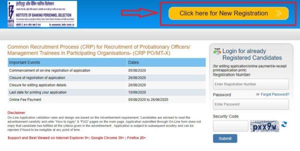 ibps po online registration