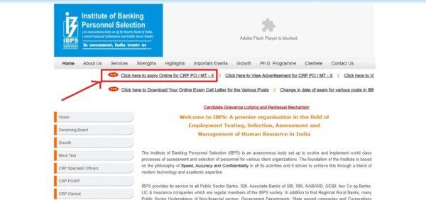 IBPS Official Website  Probationary Officer Application Link