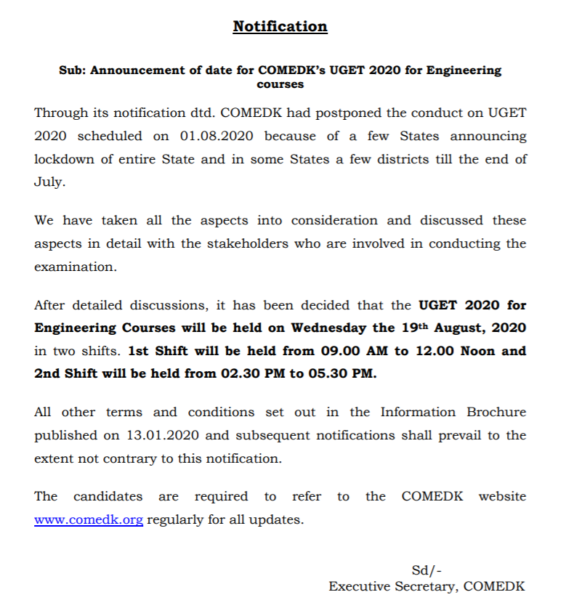 COMEDK UGET 2020 Revised Exam Dates Announced