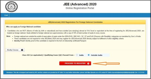JEE Advanced Foreign National Registration