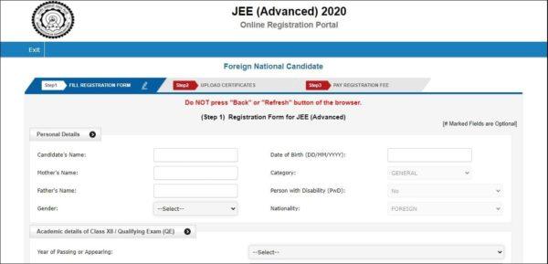 JEE Adavanced Registration Form