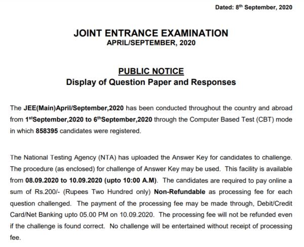 JEE Main Answer Key Notice