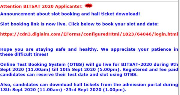 BITSAT Notice