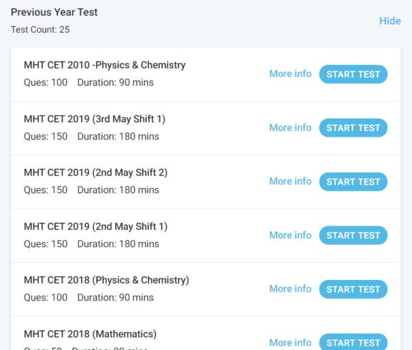 MHT CET Previous Year Test