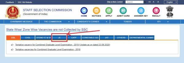SSC Junior Engineer Notification Vacancy