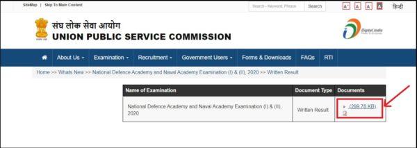 NDA NA Written Test Result PDF Link