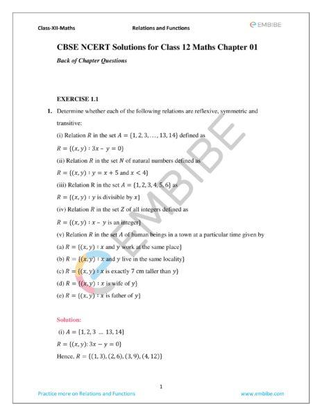 ncert solutions for class 12 maths chapter 1