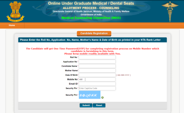 NEET Counselling Registration Main Page