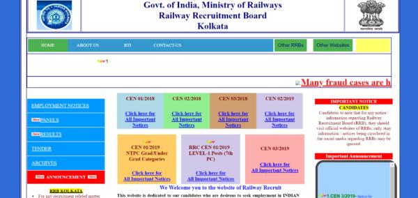 RRB Kolkata NTPC Admit Card