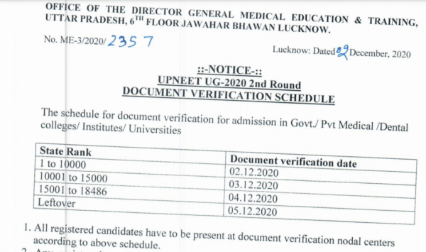 UP NEET Document Verification Schedule