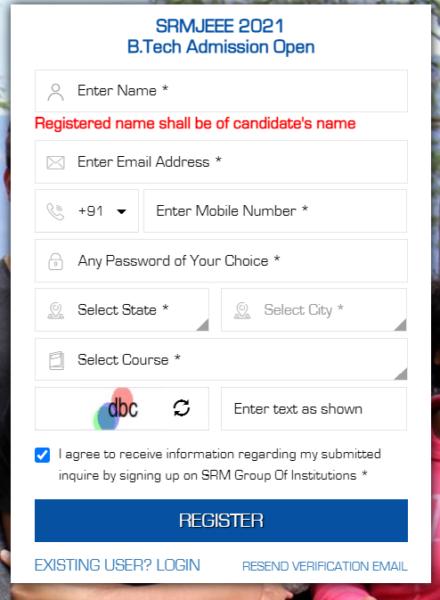 SRMJEEE New User Registration Form