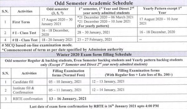 MSBTE Winter Academic Calander