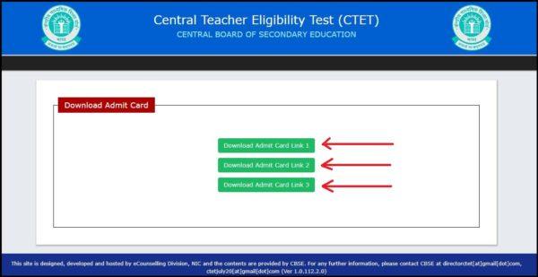 ctet admit card link