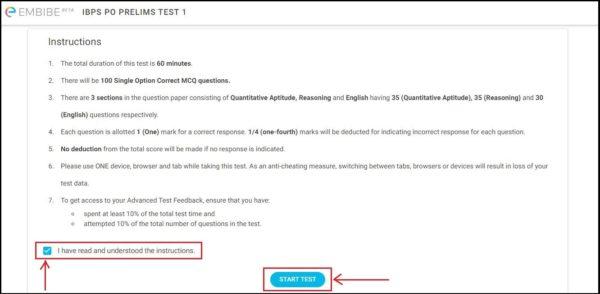 IBPS-PO-Mock-Tests-Embibe-Instruction-Page